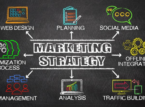 Marketing Strategy concept diagram with related elements