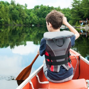 boy in a canoe