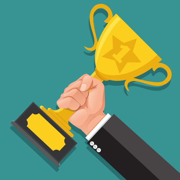 Businessman hand holding Gold Trophy Cup. Winner trophy award. First place. Gold Trophy Cup. Flat vector illustration.He was awarded the rank 1.Winner concept.